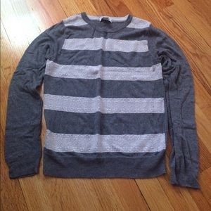 Long Sleeve Gray Sweater with White Lace!